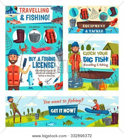 Fishing Sport Tackle And Equipment Vector Design With Fishermen, Fish, Fishing Rods And Nets. Angler