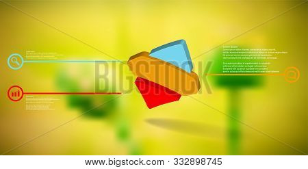 3d Illustration Infographic Template. The Embossed Bent Rhomb Is Horizontally Divided To Three Color