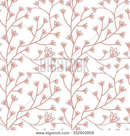 Floral Seamless Pattern Design. Branch With Small Flowers And Leaves. Hand Drawn Doodle Flowers. Col