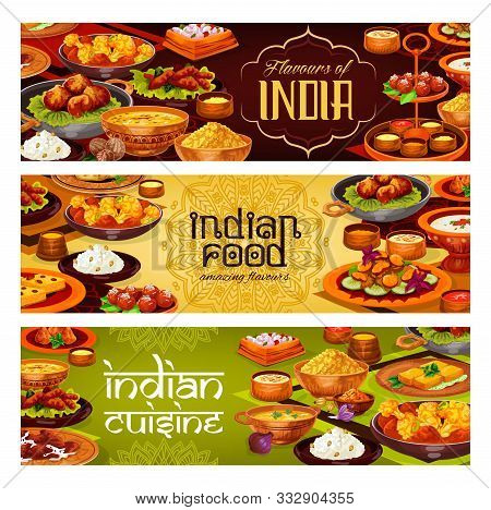 Indian Cuisine Vector Banners With Meat Curry, Rice Pilau And Vegetable Stew, Potato Samosa, Seafood