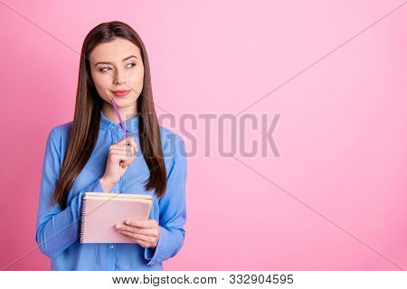 Copyspace Photo Of Cunning Curious Nice Cute Sweet Accountant Pondering Over How To Calculate Correc