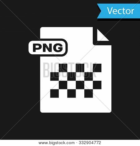 White Png File Document. Download Png Button Icon Isolated On Black Background. Png File Symbol. Vec