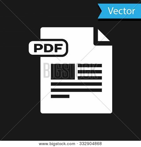 White Pdf File Document. Download Pdf Button Icon Isolated On Black Background. Pdf File Symbol. Vec