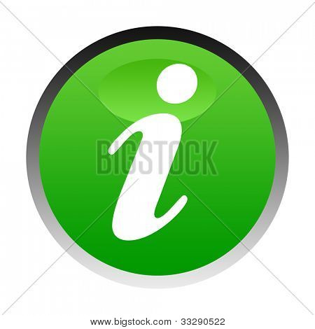 Illustration of green information button isolated on white background.