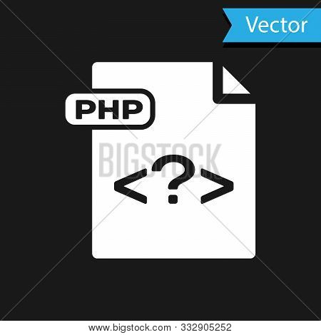 White Php File Document. Download Php Button Icon Isolated On Black Background. Php File Symbol. Vec