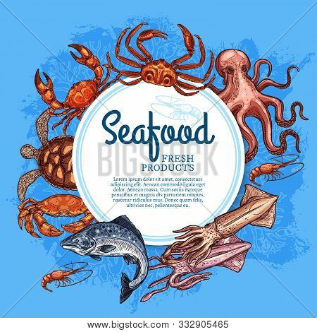 Seafood Vector Frame Of Fish, Shellfish And Marine Animal Sketches. Fresh Crab, Shrimp And Salmon, S