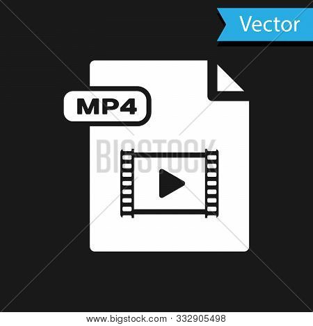 White Mp4 File Document. Download Mp4 Button Icon Isolated On Black Background. Mp4 File Symbol. Vec