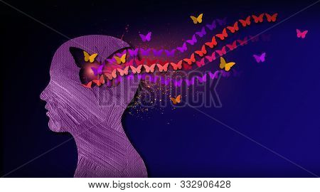 Graphic Abstract Design Of Birth Of Idea Or Being Emotionally Set Free. Simple, Inspirational, Dream