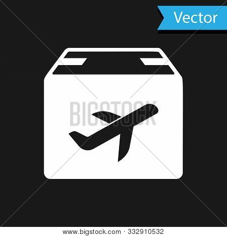 White Plane And Cardboard Box Icon Isolated On Black Background. Delivery, Transportation. Cargo Del