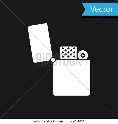 White Lighter Icon Isolated On Black Background. Vector Illustration