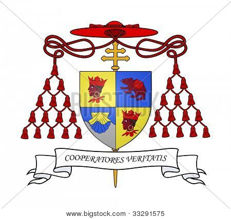 Cardinal Ratzinger coat of arms isolated on white background.