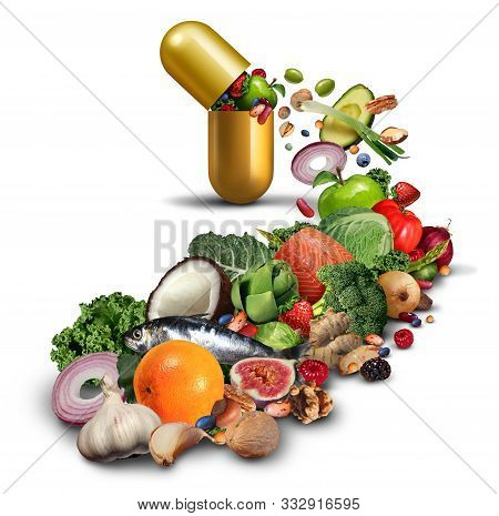 Natural Nutritional Supplement And Vitamin Medication As An Open Pill With Fruit Vegetables Nuts And
