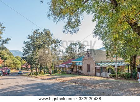 Pilgrims Rest, South Africa - May 21, 2019: A Street Scene, With Historic Buildings, In Pilgrims Res