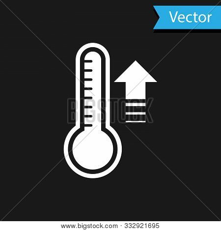 White Meteorology Thermometer Measuring Heat And Cold Icon Isolated On Black Background. Thermometer