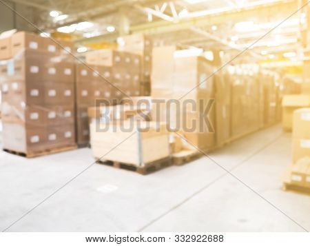 Blur Warehouse Background, Blurred Store Factory, Industry Warehouse Space And Hardware Box For Deli