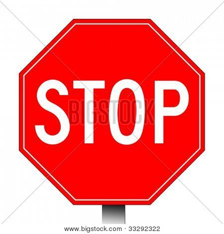 Red stop sign isolated on a white background.
