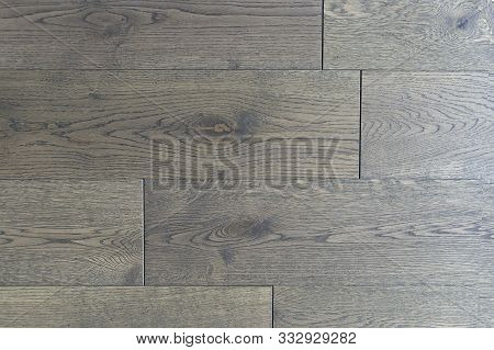 Dark Wooden Parquet Floor Background. Brown Wooden Background With A Large Natural Wood Texture, Flo
