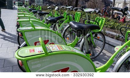 Budapest, Hungary. 03 16 2019. Bubi Mol Rent A Bike Station In Front Of The Budapest Great Market Ha