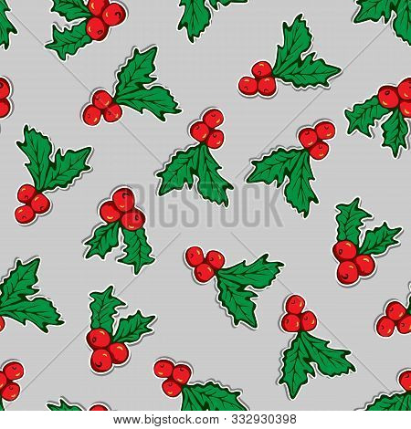 Seamless Pattern Of Holly Leaves, Berries, Branches On Gray Backdrop. Seasonal Winter Background. Me