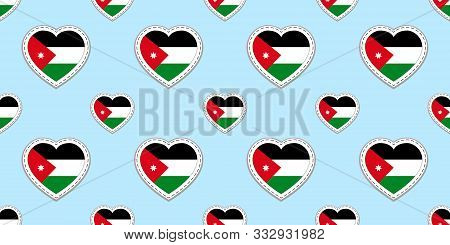 Jordan Flag Background. Jordanian Vector Stickers. Love Hearts Symbols. Iranian Flags Seamless Patte