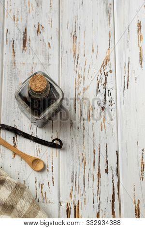 Baking Pastry Background Vertical, Ingredients, Kitchen Utensils, Wooden Spoon, Vanilla Extract, Van