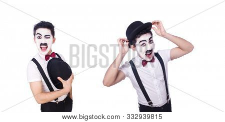 Personification of Charlie Chaplin on white poster