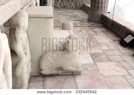 TEHRAN, IRAN - 23 SEPTEMBER, 2019: Detail of Takht-e Marmar (Marble Throne) with lion sculpture, Golestan palace (Marble Palace, Palace of Roses), royal Qajar complex. UNESCO world heritage site