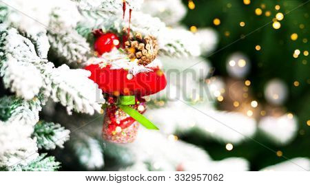 Christmas Background With Vintage Christmas Toys. Blurred Effect. Close-up