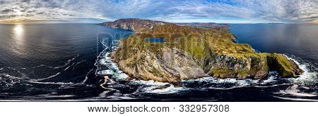 Aerial Of Slieve League Cliffs Are Among The Highest Sea Cliffs In Europe Rising 1972 Feet Or 601 Me