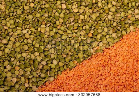 Texture Of Dry Green Peas And Raw Red Lentils Top View
