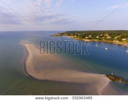 Wingaersheek Beach Aerial View At Sunset In Gloucester, Cape Ann, Massachusetts, Usa.
