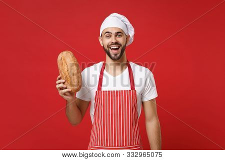 Excited Young Bearded Male Chef Cook Or Baker Man In Striped Apron White T-shirt Toque Chefs Hat Iso
