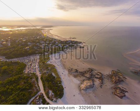 Wingaersheek Beach Aerial View At Sunset In Gloucester, Cape Ann, Massachusetts, Usa.