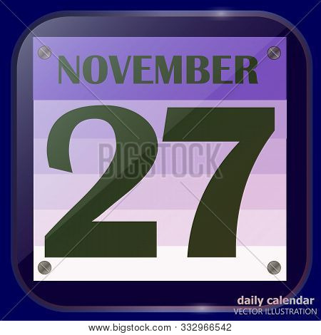 November 27 Icon. For Planning Important Day. Banner For Holidays And Special Days. Twenty-seventh N