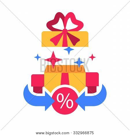 Surprise Box, Special Reward, Prize Giveaway, Loyalty Present, Percentage Sign, Incentive Or Perks,
