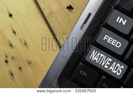 In-feed Native Ads Write On Keyboard Isolated On Laptop Background