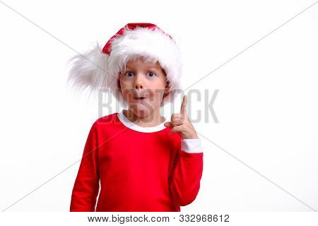 No Way Awesome. Impressed Surprised Little Boy Is Shouting In Red Christmas Santa Hat. Emotional Chi