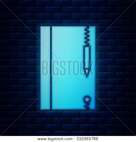 Glowing Neon Underwater Note Book And Pencil For Snorkeling Icon Isolated On Brick Wall Background.