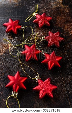Happy New Year 2020. Christmas Background, Red Stars On Dark Background. Merry Christmas Card. Space