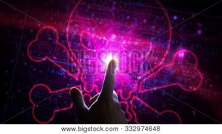 Cyber Crime With Skull Symbol Futuristic Hologram 3d Rendering Illustration. Abstract Digital Concep