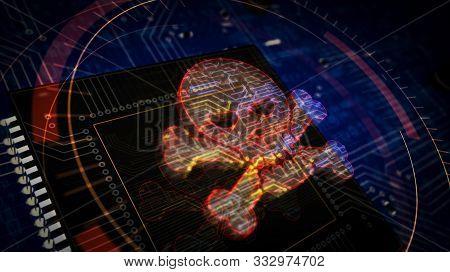 Cyber Crime With Skull Symbol Futuristic 3d Rendering Illustration. Concept Of Darknet, Internet Saf