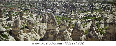 Panorama Of Unique Geological Volcanic Formations In Cappadocia, Turkey.