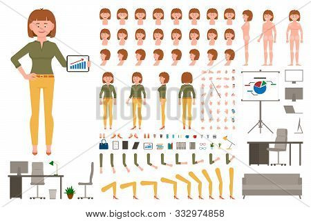 Light Brown Hair Office Worker Girl Cartoon Character Body Parts Creation Set. Young Woman In Yellow
