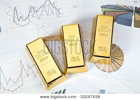 Photo of gold bars on graphs and statistics