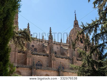 Exterior View Of The Dome And Carvings On The Roof Of The Old Cathedral In Salamanca