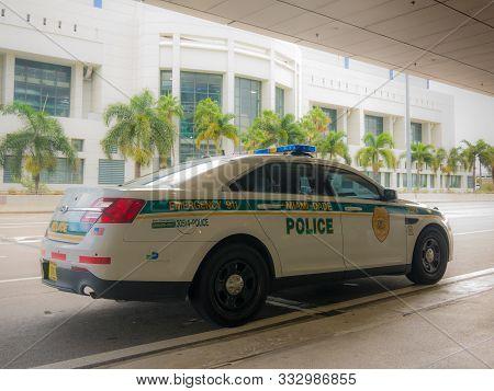 Miami, Florida, Usa. August 2019. Police Car On Miami Streets. Police Department Serving Miami-dade