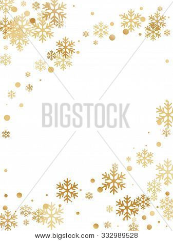 Winter Snowflakes And Circles Border Vector Illustration. Unusual Gradient Snow Flakes Isolated Flye