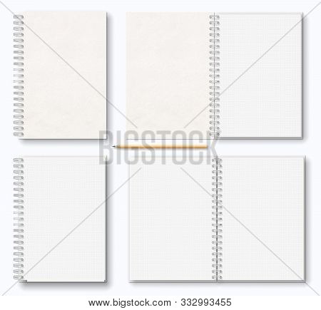 Realistic Blank Open, Closed Brown Beige Paper Texture Notebook With White Metal Spiral On Left, Woo
