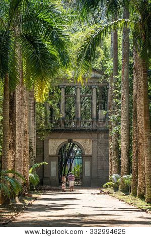 Rio De Janeiro, Brazil- October 14, 2019: Tourists Standing At The Palm Alley In The Botanical Garde