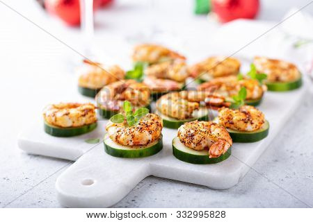 Spicy Shrimp And Cucumber, New Years Eve Or Christmas Party Appetizer